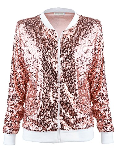 Anna-Kaci Womens Sequin Long Sleeve Front Zip Jacket with Ribbed Cuffs, Rose Gold, Small
