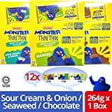 Mamee Monster Malaysia Thin Thin Sour Cream & Onion Chocolate Seaweed Cracker Biscuit Biskut Halal Food Snack Thins Teatime Oven Baked 22g 0.78oz x 12 Packs