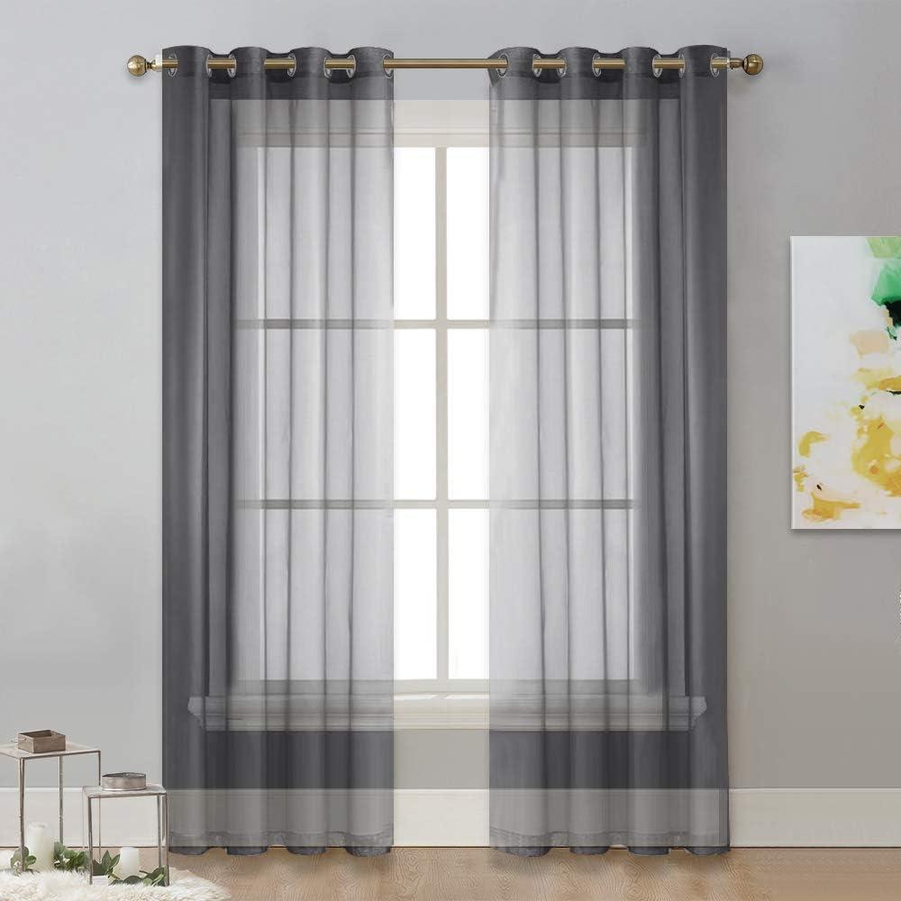 NICETOWN Sheer Living Room Curtains - Elegant Dark Grey Soft Nickel Grommet Window Panels Drapes for Living/Dining Room/Master Bedroom (54 Wide x 96 inches Long, 2 Panels)