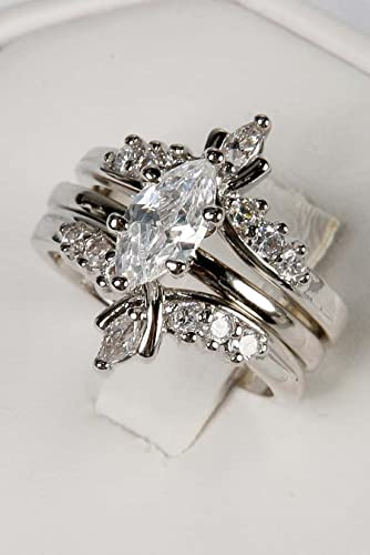 avon silvertone marquise ring with jacket set - Marquis Wedding Ring