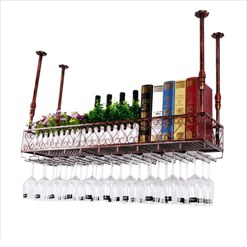 ワインホルダー ワインラック、天井のワインラック調節可能な高さ、ウォールシェルフ収納ラック、ワイングラスラックゴブレット脚付きラック、バーの装飾ディスプレイ棚 装飾用品 B07SDP4FQF bronze L120*W25cm
