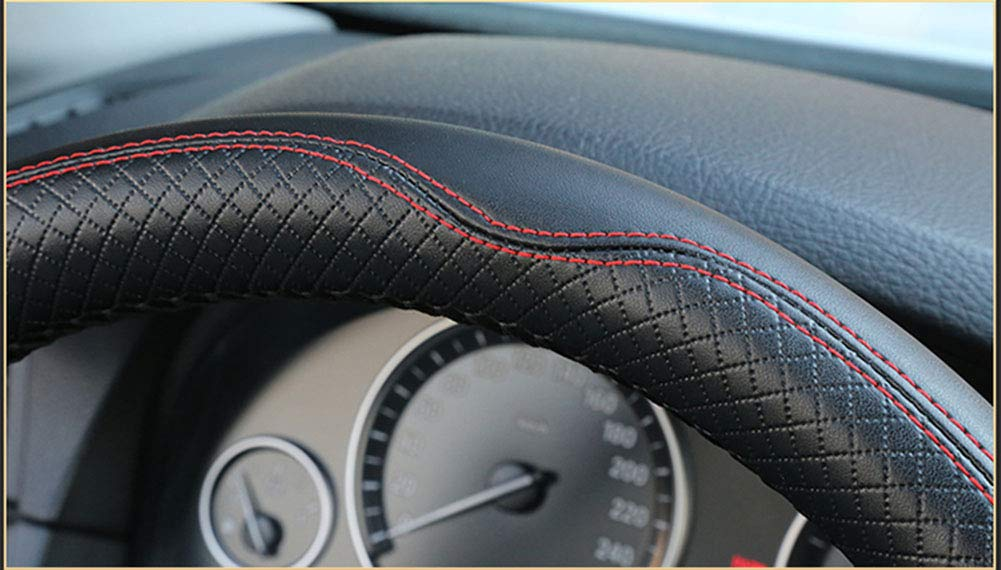 Embossed Leather Handle Cover for Four Seasons,A Hand-stitched Steering Wheel Cover