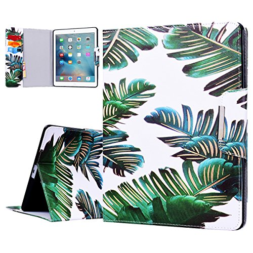 Funda iPad 2 WE LOVE CASE Piel y Tipo Cartera Carcasa Funda iPad 4 caso de Cuero Original Funda Que Se Pega con Ranura Para Tarjeta Card Holder y Stand Cierre Anti Shock Funda Apple iPad 2 / 3 / 4 uni hojas verdes