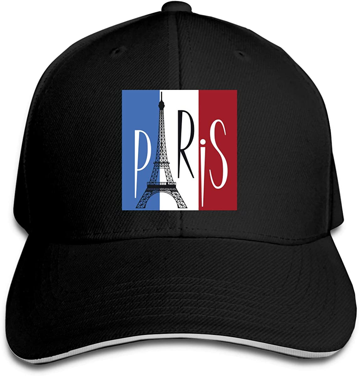 Eiffel Tower Over Flag of France Outdoor Snapback Sandwich Cap Adjustable Baseball Hat Hip Hop Hat