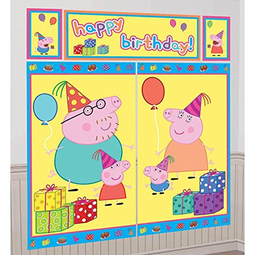 Peppa Pig Birthday Party Scene Setters Wall Decorating Kit, 5 Pieces, Made from Plastic, 59