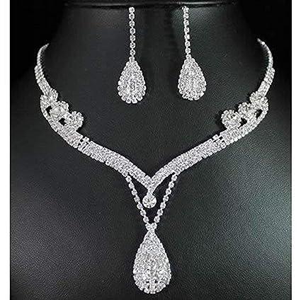Amazon.com  ELEGANT ROSE Women s Jewelry Set Bridal Wedding Rhinestone  Necklace Earring Sets  Arts dfabf852735d