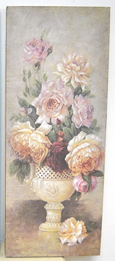 Shabby Chic Vintage Style Large Canvas Floral Print