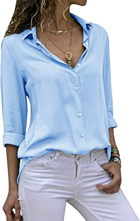 Cassiecy Blusa de gasa para mujer, elegante, cuello en V, manga larga, informal, suelta, camiseta de manga larga
