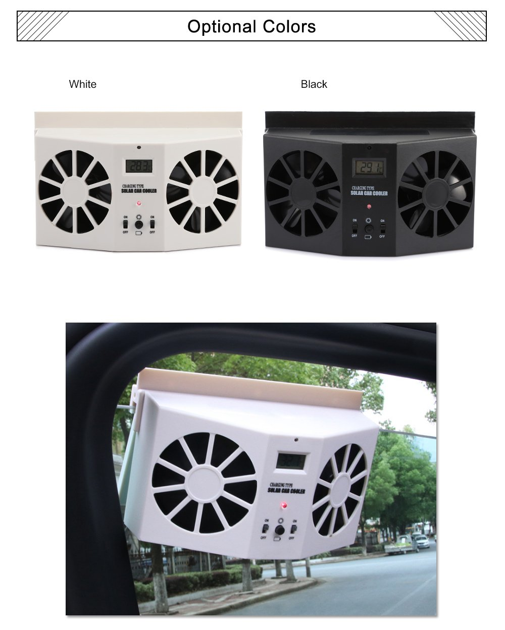 AUTOLOVER Solar Powered Car Cool Cooler Fan Auto Front/Rear Window Air Vent  Exhaust Fan Vehicle Radiator Vent with Ventilation (White)