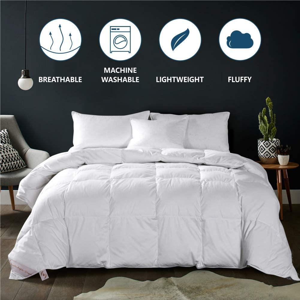Maple Down Comforter Queen Size Duvet Insert, Down Alternative Comforter Quilted with Corner Tabs for All Season, Soft & Breathable Brushed Microfiber Machine Washable (White,90'' 90'')