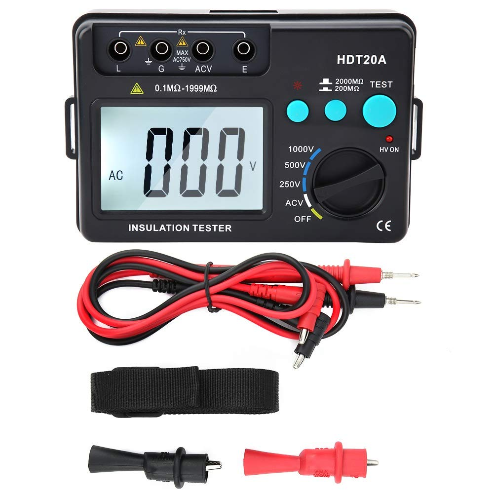 Insulation Resistance Tester - HDT20A LCD Display Insulation Resistance Tester Meter Voltmeter 1000V by MLMLH
