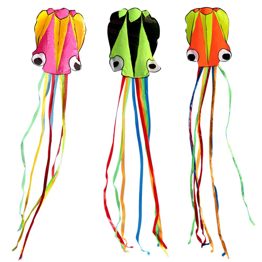 BeMax Pack 3 colors Beautiful Kites Soft Octopus Large Size Kite easy flyer (Pink Yellow, Orange Green, Green Black with Long RainBow Tails)