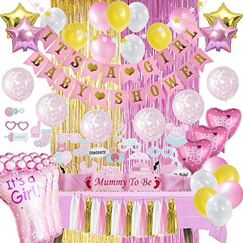 Baby Shower Decorations For Girl | ALL-IN-1 MEGA Bundle! | Pink & Gold Girls Set | Discount Direct Baby Shower Decorations - With Table Cover for Party | Pink Foil Curtain, Marble, Confetti, Heart & Star Shaped Balloons, 25 Piece Photo Props,