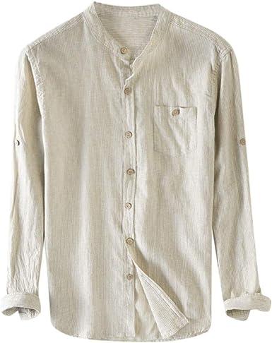 VJGOAL Camisa de hombre de algodón elástico de manga larga para ...