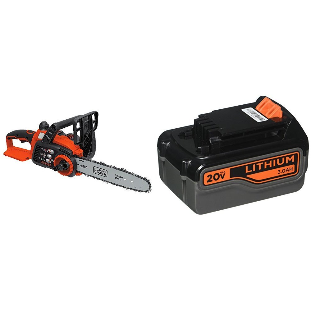 BLACK+DECKER LCS1020 20V Max Lithium Ion Chainsaw, 10-Inch with 3.0Ah Battery