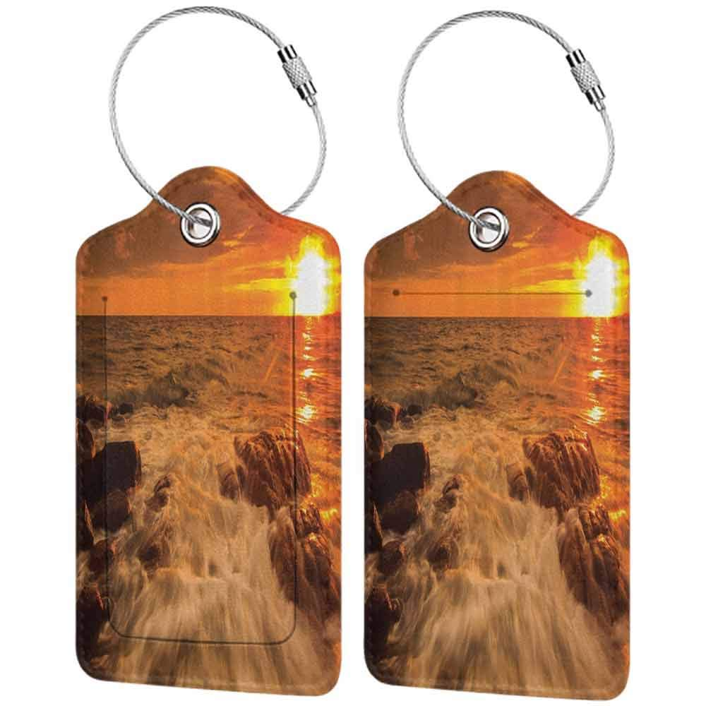 Modern luggage tag Landscape Art Decor Collection Nature Seascape Morning Ocean Sea Beach Sunrise Picture Print Suitable for children and adults YellowRedBrown W2.7 x L4.6