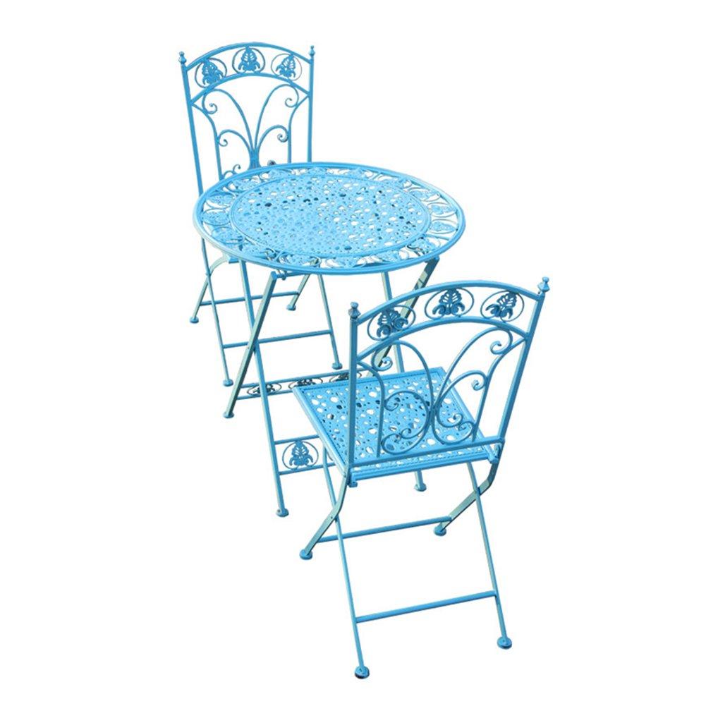 XXHDYR Im Freien Schmiedeeisen Farbtisch Und Stuhl Kombination Dreiteilige Schmiedeeisen Balkon Kreative Freizeit Tee Shop Couchtisch Klapptisch (Farbe : Blau)