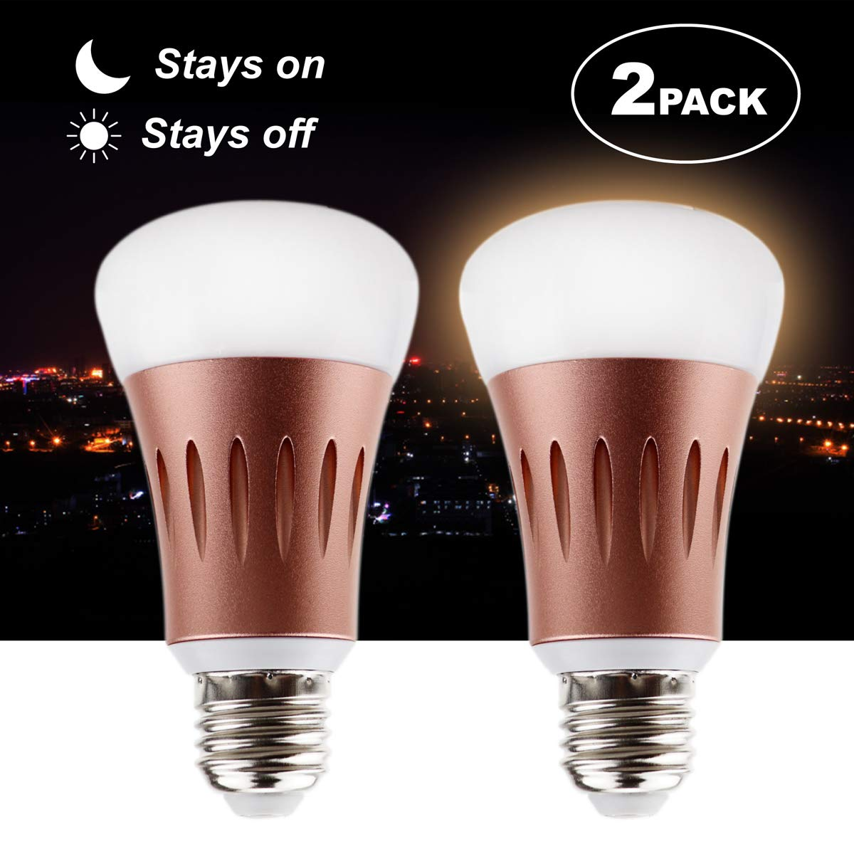 Dusk to Dawn Light Bulb,KK.BOL 7W Sensor LED Light Bulb with Dusk Till Dawn Auto On/Off, Outdoor/Indoor Security Lighting Porch Patio Garage Hallway (E26/E27, Daylight White 6000K,2 Pack)