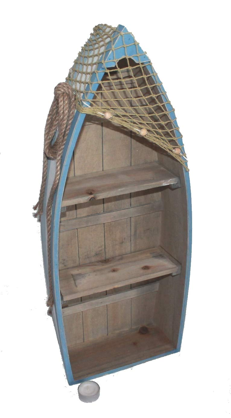 AAF Nommel®, Stiefel Regal 61 cm x 24 cm x 9 cm, Kiefernholz, Maritim Dekor im Shabby Look, Nr. 013