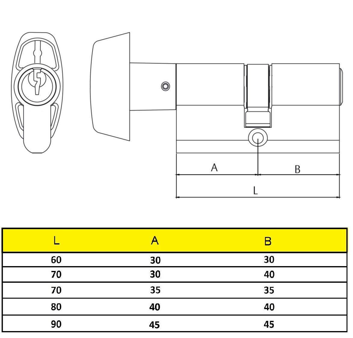 30 x 30 mm Yale Y53030HN Cilindro de Seguridad Niquelado