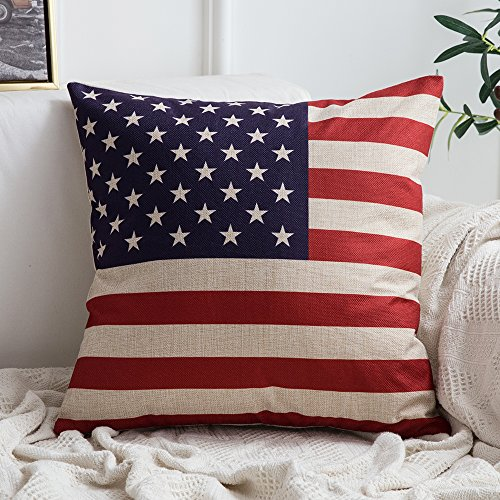 Pillow Cover for July 4th Independence Day and Flag Day Decorative Stars and Stripes Square Solid Throw Pillow Case Patriotic Cushion Cover 18x18 Inch ()