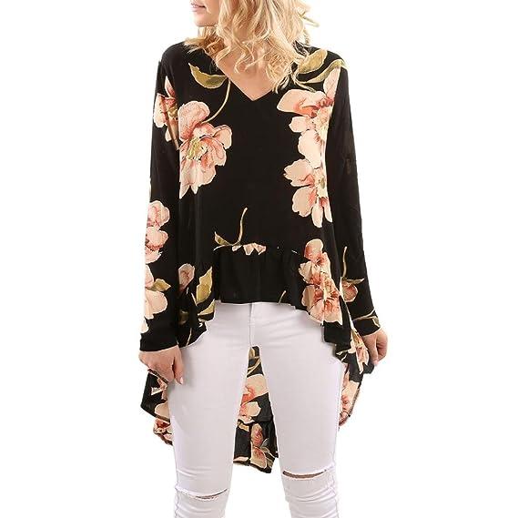 QinMM Camiseta Floral Mujer, Manga Larga Volantes Irregular Blusas Tops (Negro, S)
