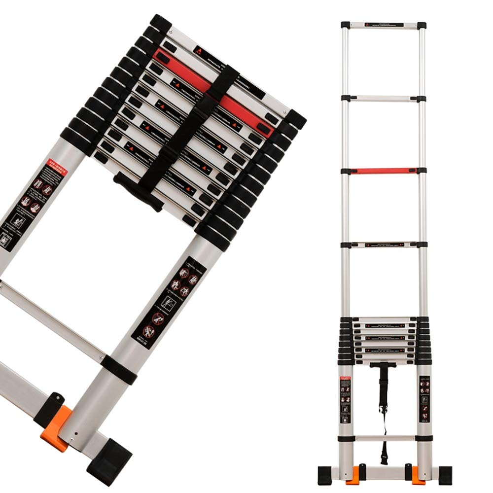 ZR 折り畳み梯子, エクステンションラダー、ワイドペダル75cm、ストレートラダー3.8m(12.47フィート)、壁に使用、EN131認定、積載量330lbs / 150Kg アウトドア伸縮はしご B07PY81D3M