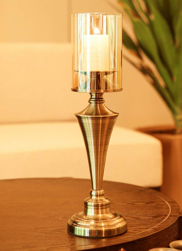 Amayan Borosilicate Glass Lampshade Pillar Candle Holder Open End-Diameter is 4.7'',Height 10'' Piece for Coffee Tables OR Side Tables- Glasses Holder - (Multiple Specifications) by Amayan (Image #5)