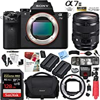 Sony Alpha a7II Mirrorless Camera with Sigma 24-70mm F2.8 DG OS HSM Art Lens and MC-11 Mount Converter Plus 128GB Dual Battery Accessories Bundle