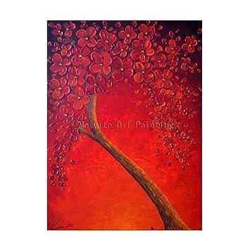 Sdxgcfv Arbre Rouge Mur Image Main Peinture Pas Cher Moderne Toile