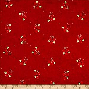Riverwoods Collection Red Riverwoods Vintage Vogue Laundry Cherries Fabric by The Yard