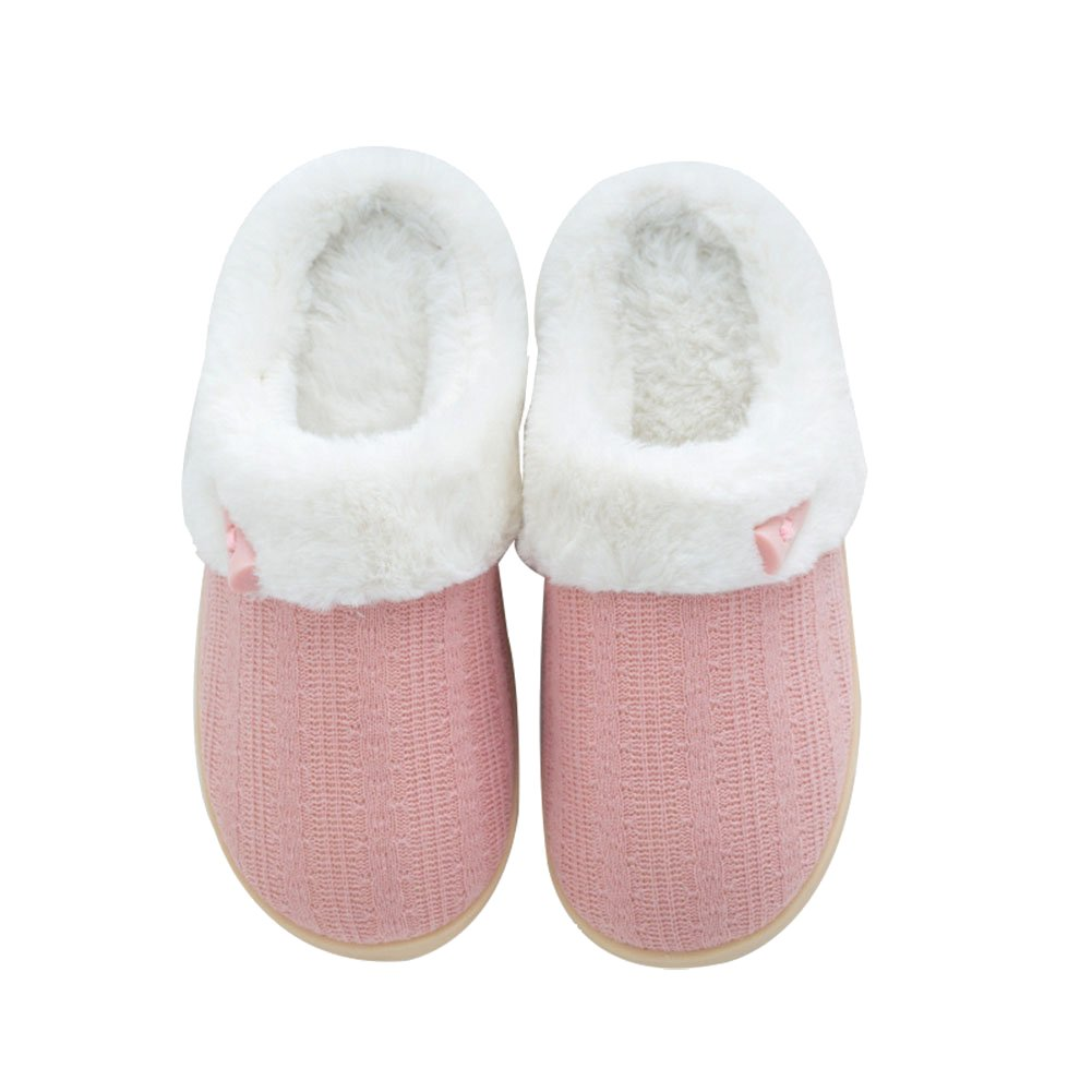 NineCiFun Women's Fuzzy Winter Slippers Outdoor House Slippers (X-Large/11-12B(M) US, Pink)