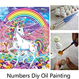 Aksuo Paint by Numbers Kits Diy Canvas Oil Painting for Kids, Students, Adults Beginner - Rainbow Unicorn 16 x 20 inch with Brushes and Acrylic Pigment(With Framed)