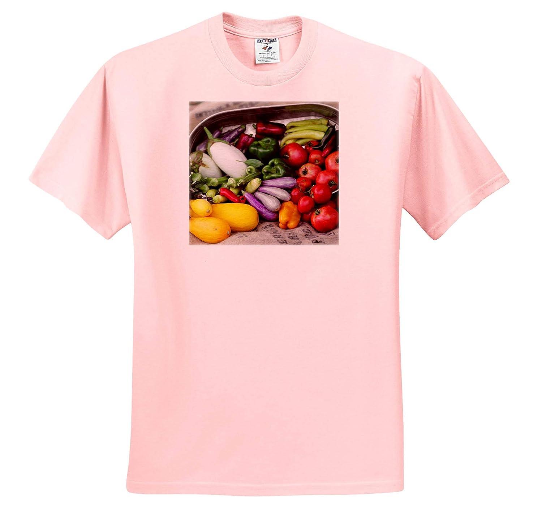 - T-Shirts 3dRose Stamp City Garden Photograph of Garden Vegetables Spilling Out a Metal tin onto Burlap