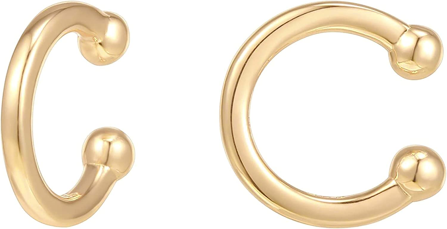 PAVOI 14K Gold Plated 925 Sterling Silver Classic Round Huggie Ear Cuff Gold Earrings for Women Clip On Cartilage