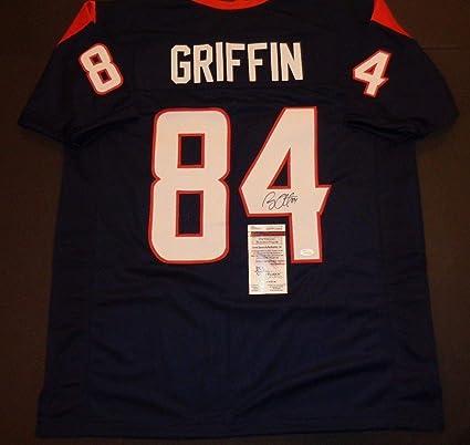 d558c16c9472d Ryan Griffin Houston Texans Autographed Signed Blue Style Jersey ...