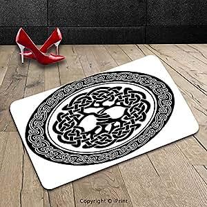 Custom lavable Felpudo (Celtic Decor por nativo Celtic Árbol de la vida figura Irlanda temprana renacimiento Artsy medallón diseño Decor negro blanco para interiores/al aire libre Felpudo alfombra alfombra alfombra