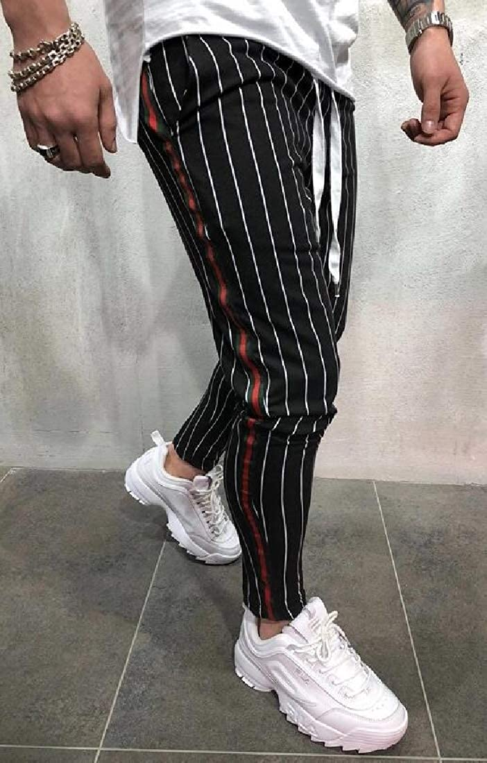Keaac Mens Fashion Stretchy Ankle Zip Contrast Outer Stripe Drawstring Track Pants