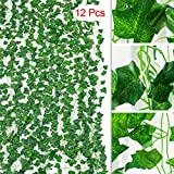 TRvancat Artificial Ivy Leaf Garland, Fake Greenery 84 Ft 12 Pack Hanging Vines, Fake Foliage Plants for Wedding Arch Home Wall Decor