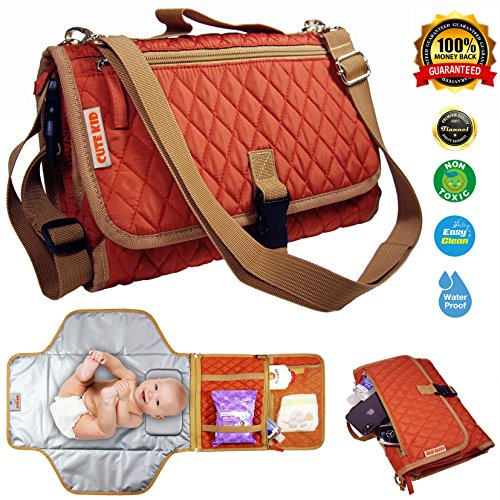 Cute Kid Portable Diaper Changing Pad Clutch, Extra Large Waterproof Cushioned Soft Station Kit, Baby Travel Carrying Bag, Stylish Mat for Newborns & Infants, Boys & Girls, 100% Satisfaction Guarantee