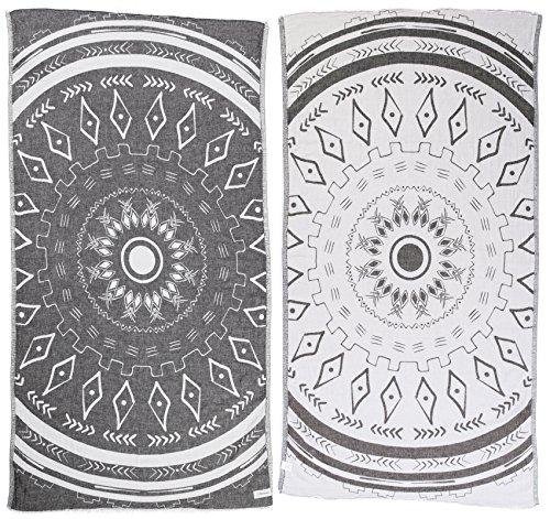 Bersuse 100% Cotton Kona Dual-Layer Handloom Turkish Towel-37X70 Inches, Black