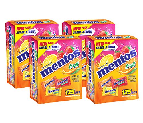 Mentos Chewy Mints in Assorted Fresh Fruit Flavor - Strawberry / Orange / Lemon - Non Melting, 125 Individually Wrapped Pieces (Pack of 4)