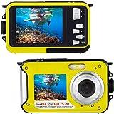 Telecamera subacquea per lo snorkeling Impermeabile 24.0 MP Fotocamera digitale Galleggiante FULL HD 1080P Telecamera a doppio schermo impermeabile