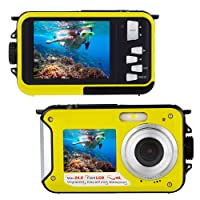 Underwater Camera for Snorkelling 24.0 MP Waterproof Digital Camera Float FULL HD 1080P Dual Screen Waterproof Action Camera