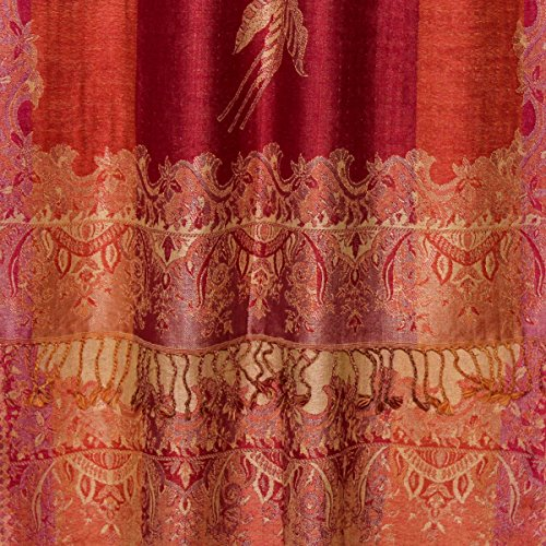 LORENZO-cANA de luxe pour dames style marin écharpe en laine et soie 70 cm x 190 cm (orange/motif cachemire 78194 écharpe