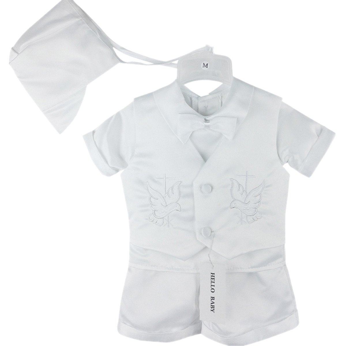 Hello Baby Cross Embroidery White Boy Christening Baptism Clothes Sets 0684 S