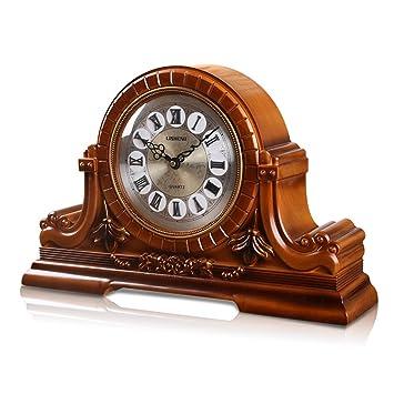 HAOFAY Retro Table Clock, European Style Old Fashioned Living Room Creative  Fashion Mute