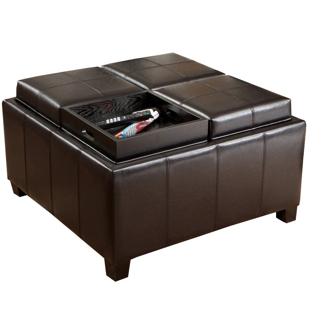 Christopher Knight Home 220515 Harley Leather Espresso Tray Top Storage Ottoman