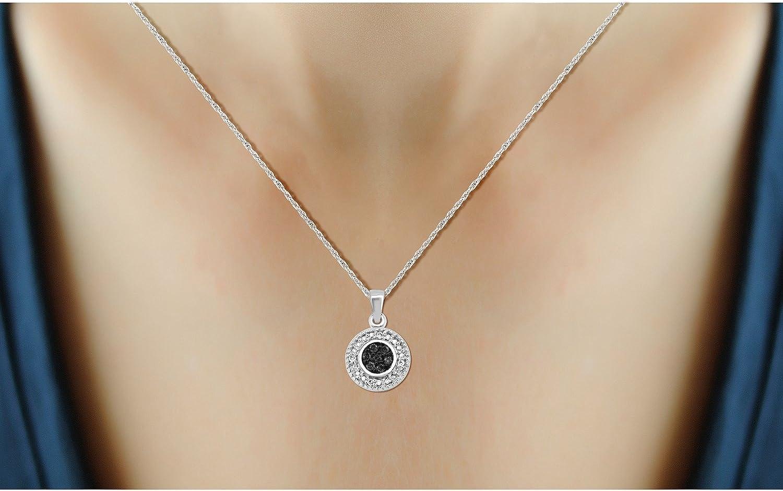 Jewelexcess 1//10 CTW Black /& White Diamond Pendant in Sterling Silver