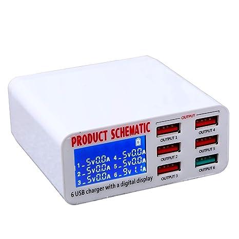 Cikuso QC3.0 USB Cargador Cargador Multi-Puerto Inteligente ...